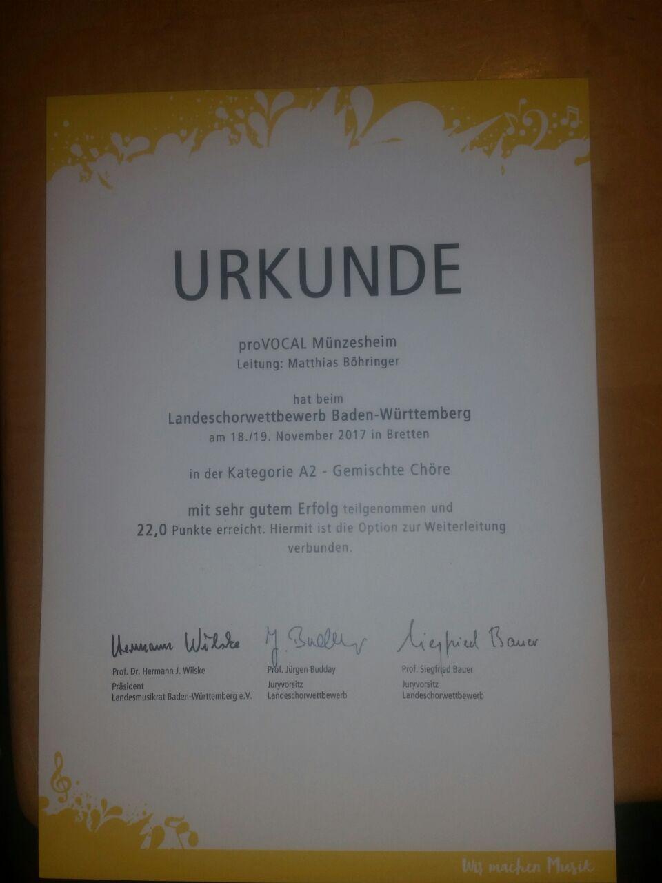 Urkunde landeschorwettbewerb provocal 2017